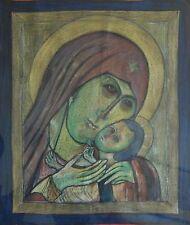 SÜ / Sue signiert - Aquarell auf Stoff 1960: ELEUSA v. KONSSUN / Maria mit Jesus