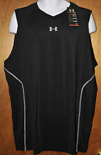 Men's Under Armour Heatgear Sonic Fitted Sleeveless Black Tank Size 3XL
