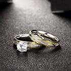 Two-Rows Engagement Stainless Steel Ring Wedding 2Pcs Set Cubic Zirconia Jewelry
