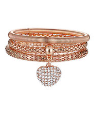 Rose Gold Heart Popcorn Stretch Bracelet with Swarovski® Crystal