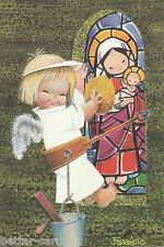 Happy Christmas Vintage 1970's Greeting Card - Merry Angel Window Cleaner