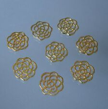 10 Gold Plated Round Flower Double Sided Charm Pendant Connector  15mm.