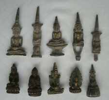 10 old small Buddha statues from Thailand and Laos