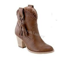 Roman Women Tassel Pointy Toe Block Heel Ankle Boots PU Leather Cowboy Boots Sz