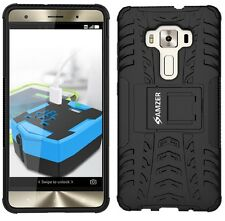 AMZER Black Dual Layer Hybrid Warrior Case + Stand ASUS Zenfone 3 Deluxe ZS570KL