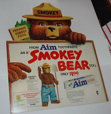 1970's Smokey the Bear Aim Toothpaste Store Display Sign Dakin Doll