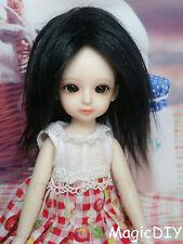 "5-6"" 14cm BJD doll fabric fur wig Black wig bjd hair for 1/8 bjd dolls"