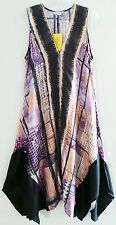 NWT CITRON SANTA MONICA Multicolor Tye Dye Cupra Slouchy High Low Long Dress, M