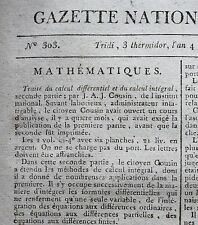 Journal révolutionnaire Gazette Nationale Moniteur Universel mai septembre 1796