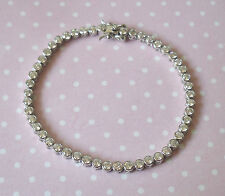 925 Solid Sterling Silver Round Cut Cubic Zirconia CZ Tennis Bracelet & Gift Box