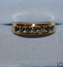 Ross Simons 18k yellow gold/sterling silver london blue topaz wedding band Ring
