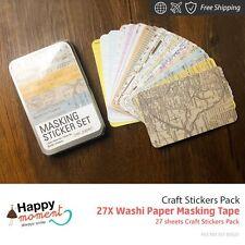27X Washi Paper Masking Tape Craft Stickers Pack DIY Scrapbooking 27 sheets