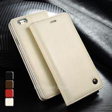 iPhone 6 6s PLUS Leder Synthetisch Case Tasche Etui Cover Hülle Cremeweiß Weiß