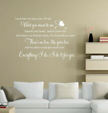 Bryan Adams - Everything I Do Wedding Song Lyrics Music Wall Art Vinyl Decal