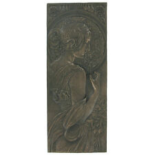Bronze Mackintosh Art Deco Wall Plaque Nouveau Erotic Lady Naked H24.5cm 01311
