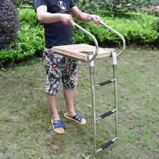 Stocking Stainless Steel Rails Teak Inboard Boat Swim Platform 3 Steps Ladder