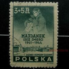 "Polish Majdanek stamp-German Nazi SS w/Zyclon-B, 1946-USED-""Death""-Poland-Sc B45"