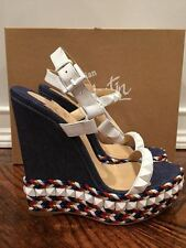NIB Christian Louboutin Cataclou 140 Blue White Denim Wedge Sandal Heel 37 $795