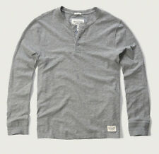 NWT Abercrombie & Fitch Men Long Sleeve Henley T Shirt Top XL Heather Grey