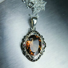 10cts Natural Imperial topaz & sapphires Sterling .925 silver necklace, pendant