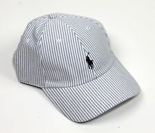 Polo Golf Ralph Lauren Striped Stripe Baseball Cap Hat White & Blue New