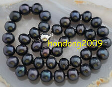 Genuine 11-12mm black Akoya Cultured Pearl Necklace 18''AA+
