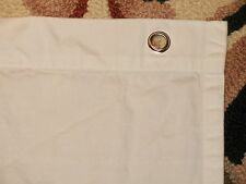 POTTERY BARN SOLID WHITE 100% COTTON FABRIC SHOWER CURTAIN with SILVER GROMMETS