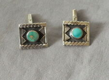 Old Vintage Handmade Native American Silver Turquoise Cufflinks