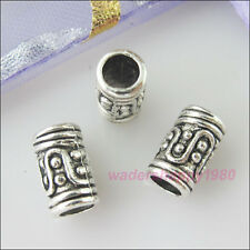 40Pcs New Tibetan Silver Tone Charms Tube Spacer Beads for DIY Crafts 10mm