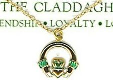"Irish Claddagh 18"" Necklace; Gold Plated, St Patricks Day, Great Gift, USA NEW"