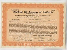 1934 Richfield Oil Company Of California Certificate Of Deposit