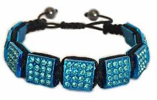 Men Women Blue Iced Out Square Rhinestone Beaded Bracelet Hip Hop Jewelry