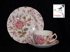 TrioTea Cup, Saucer & Plate Johnson Bros Rose Chintz Pattern Pat.No160783 1950s