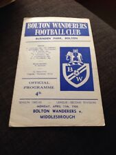 Bolton Wanderers  V Middlesbrough 1966 Soccer/football Programme
