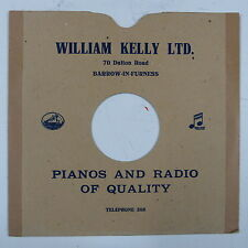 "78 rpm 10"" card gramophone record sleeve/ cover WILLIAM KELLY , BARROW"