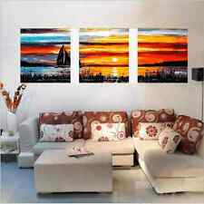 """20X20"""" DIY Acrylic Paint By Number kit Oil Painting Three Parts Sunset Glow Boat"""