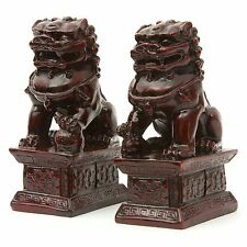 LARGE Feng Shui Oriental Red Fu Foo Dog Home Protection Lions Guardians Set 6""