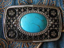 NEW TURQUOISE COLOUR STONE BELT BUCKLE  SILVER/BLACK  METAL, WESTERN,COWBOY,GOTH