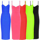 Womens Ladies evening cocktail party NEON strappy cami Bodycon Midi DRESS lot a1