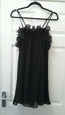 Lovely ladies size 12 black floaty mini dress with ruffle 'Miso' bnwt NEW