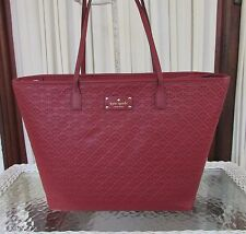Kate Spade Margareta Penn Place Embossed XL Tote Leather Bag Train Car Red NWT