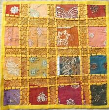 "Indian sari patchwork cushion cover16"" square yellow multi"