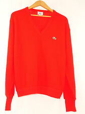 Vtg IZOD Lacoste Orlon Acrylic Red V Neck Long Sleeve Sweater L Made in USA