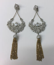CAROLEE EARRINGS AMAZING CHANDELIER CRYSTALS GOLD TONE CHAIN LONG & SEXY