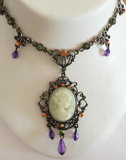 New Vintage Style Cameo Heart Floral Oval Crystals Charm Chain Necklace NE1066