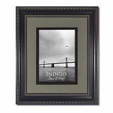 One -16x20 Ornate Black Photo Frame, Glass & Slate Gray/Black Mat for 11x14