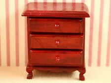dolls house walnut three drawer bedside chest---1:12 th scale