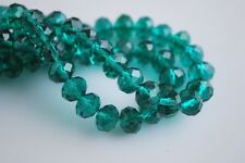 200pcs 4mm Faceted Rondelle Loose Spacer Crystal Glass Beads Peacock Green