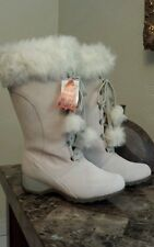 "SPORTO Winter White ""Lila"" Suede Faux Fur Tall Laceup Boot Waterproof Sz 8W NEW"