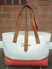 "FOSSIL ""AUSTIN"" NATURAL/HOT CORAL TOTE/SHOPPER BAG BNWT RETAIL £119"